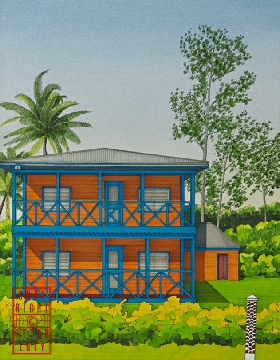 Elevation of brightly coloured Fiji House 3