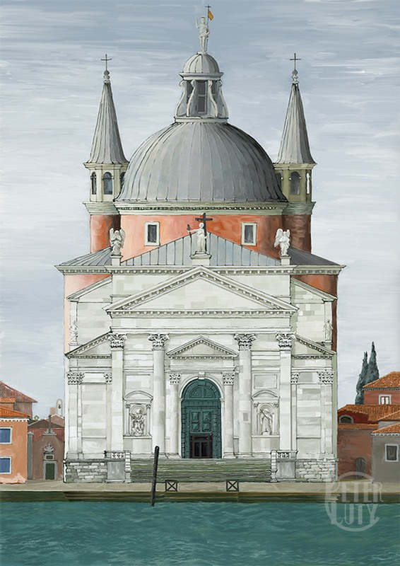 A hand-drawn digital print of the church Il Redentore in Venice